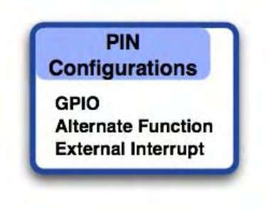 IO pins are arranged as five ports each having 16 IO lines. Each digital pin may