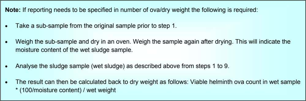Note: If reporting needs to be specified in number of ova/dry weight the following is
