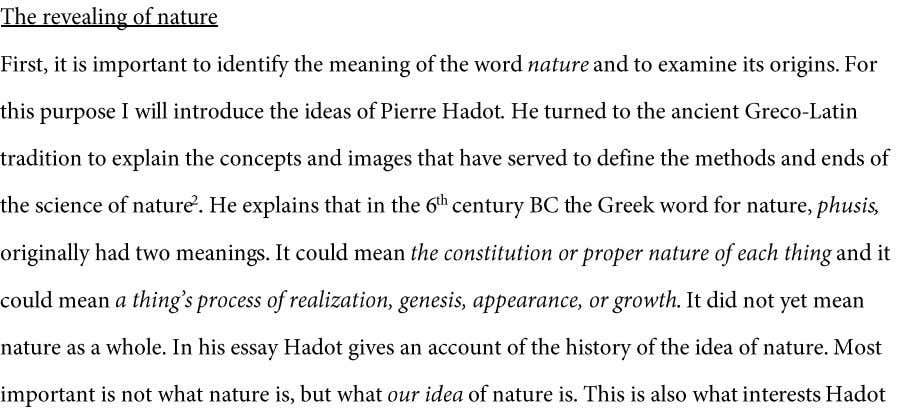 2 man and nature 1 Quoted in Pierre Hadot, The Veil of Isis. An essay on
