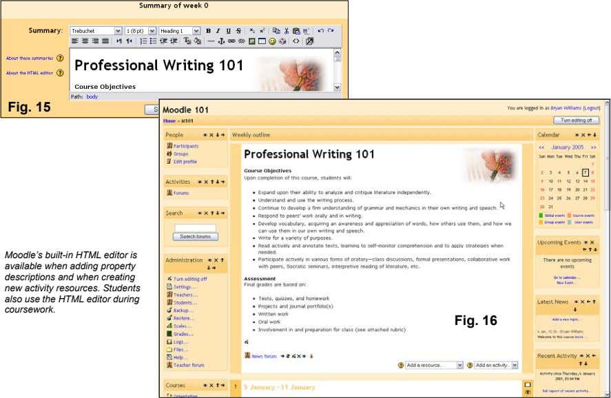 Fig. 15 Moodle's built-in HTML editor is available when adding property descriptions and when creating