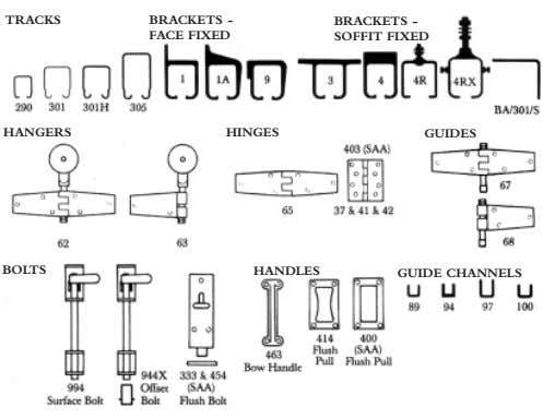 TRACKS BRACKETS - BRACKETS - FACE FIXED SOFFIT FIXED HANGERS HINGES GUIDES BOLTS HANDLES GUIDE
