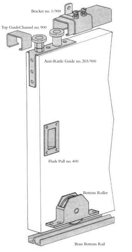 Bracket no. 1/900 Top GuideChannel no. 900 Anti-Rattle Guide no. 203/900 Flush Pull no. 400