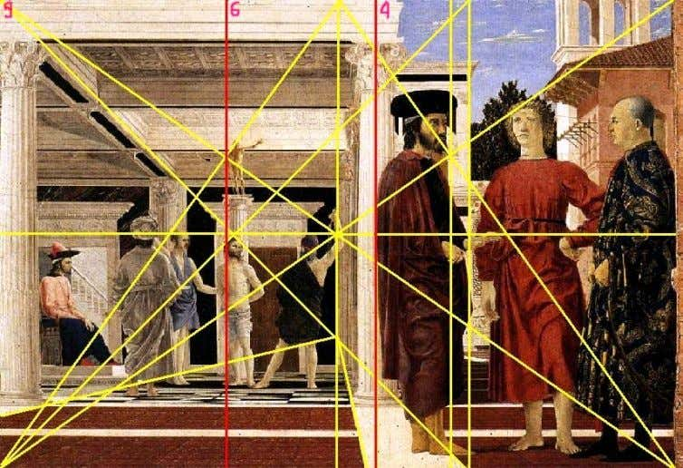 Piero della Francesca, composition within a root 2 rectangle Subdivision of the root 2 rectangle into