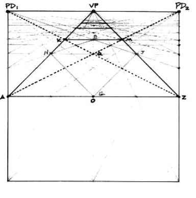 """One-point"" (parallel) perspective grid using harmonic and geometric progressions (From Mark Reynolds,Geometric"