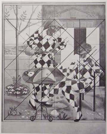 Gino Severini, Montegufoni frescos, root 4 theme: square and double square (Carlo Cresti, Geometria per
