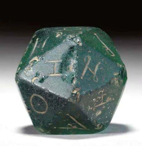 to properties of the regular icosahedron. (Felix Klein) A ROMAN GLASS GAMING DIE. Circa 2nd Century