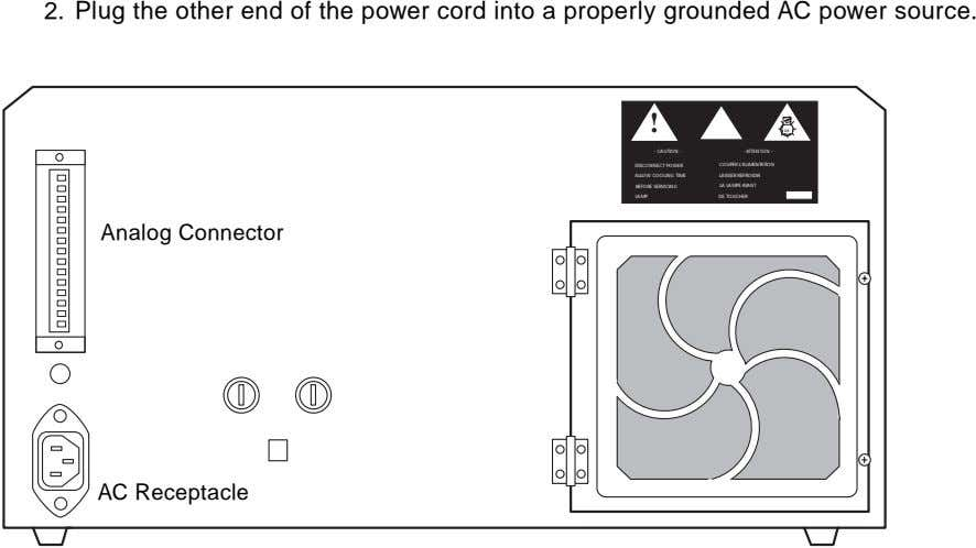 2. Plug the other end of the power cord into a properly grounded AC power
