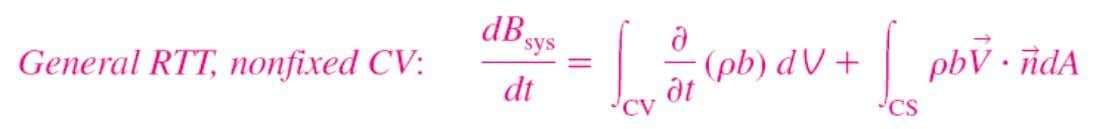 The equation above is valid for arbitrarily shaped, moving and/or deforming CV at time t.