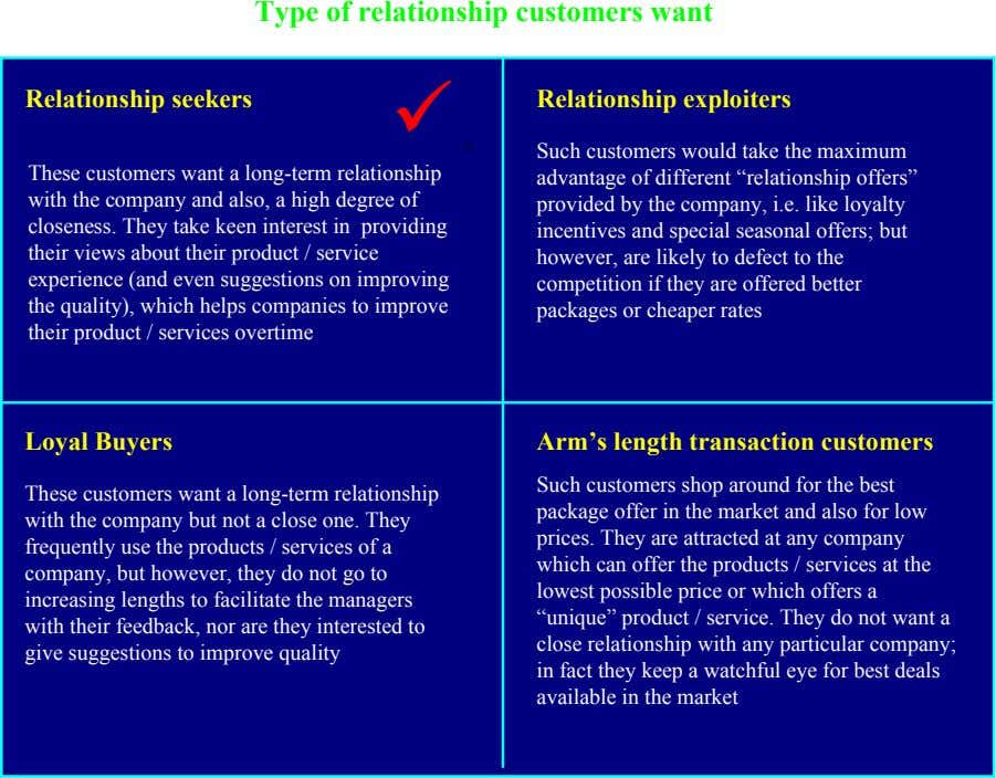 Type of relationship customers want Long-term Short-term Relationship seekers  Relationship exploiters . These customers want
