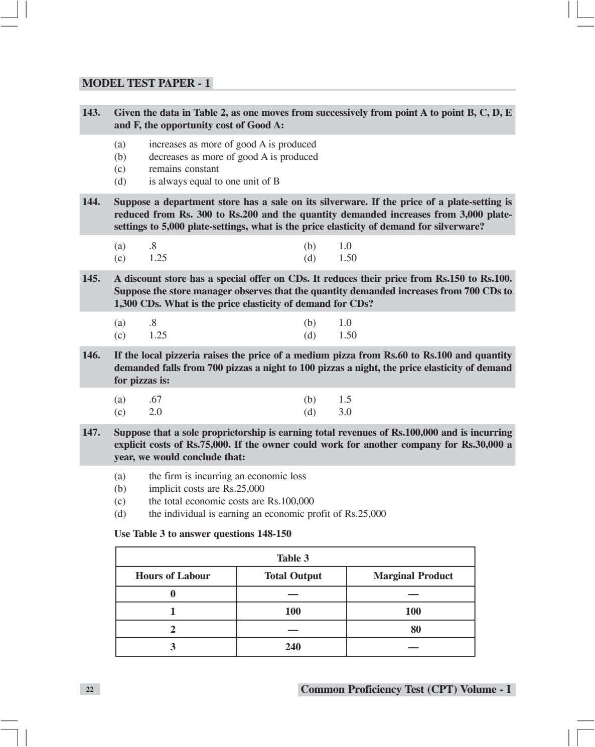 MODEL TEST PAPER - 1 143. Given the data in Table 2, as one moves from