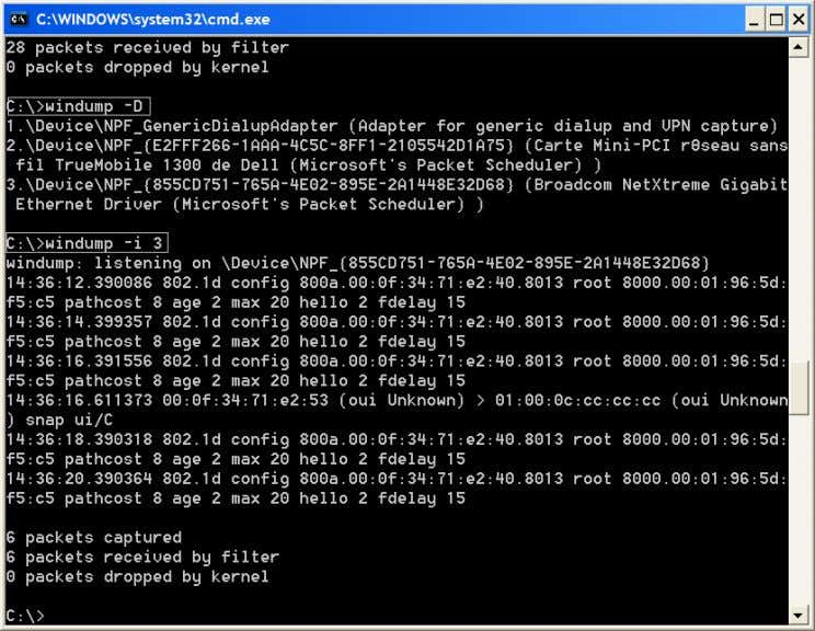 l'option -i (num´ero d'interface), cf. figure 3.1. Fig. 3.1 – Utiliser Windump sous Windows 3.3 Ethereal