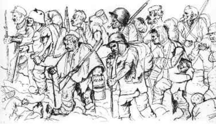 Russia, and later others including the United States). Battle-Weary Troops Retreat by German artist Otto Dix