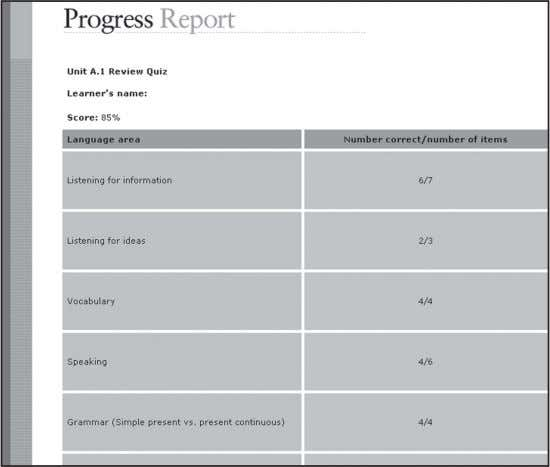 Gradebook . • In the CD-ROM version, track your progress in the Progress Report . Level