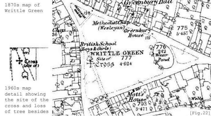 1870s map of Writtle Green 1960s map detail showing the site of the cross and