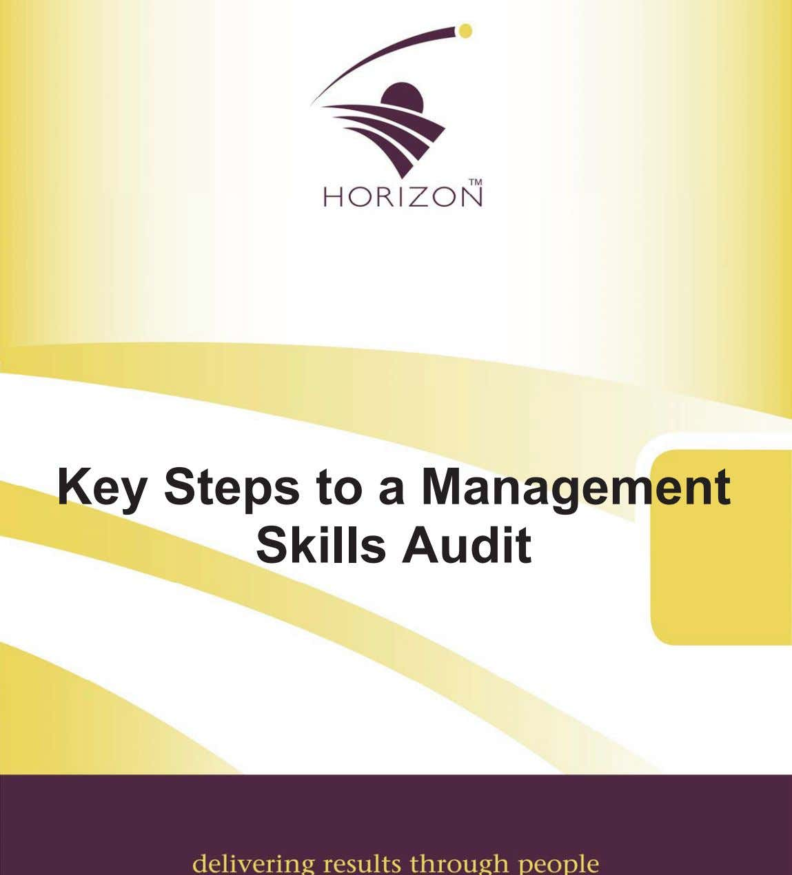 Key Steps to a Management Skills Audit
