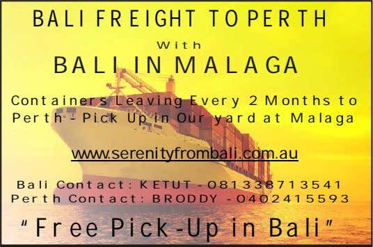 BALI FREIGHT TO PERTH With BALI IN MALAGA Containers Leaving Every 2 Months to Perth