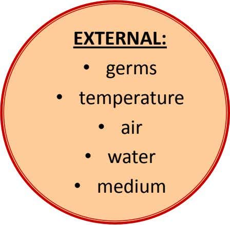 EXTERNAL: • germs • temperature • air • water • medium
