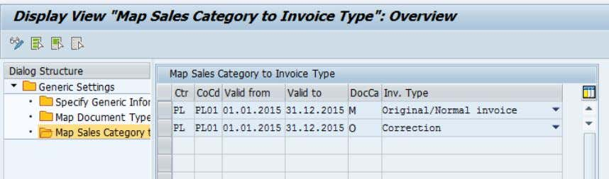 document categories and their corresponding invoice type. NOTE : Downpayment invoices are an exception to this