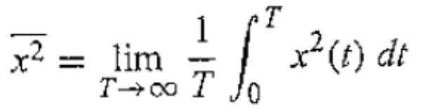 ➢ The mean square value of a time function x(t) is found from average of the