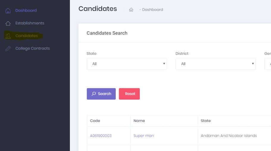 Behalf of dropdown  Once an Establishment is selected, candidates will appear in the view menu