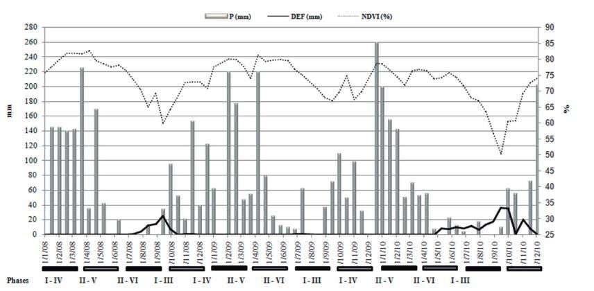 periods of 16 days, years 2008-2010, in Três Pontas, MG. FIGURE 2 - Change in precipitation