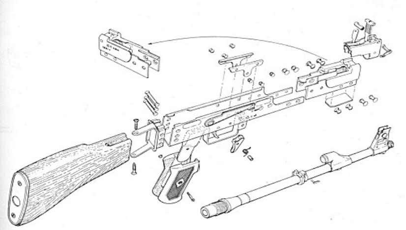 AK-47 Exploded Parts View 1 - Barrel with receiver, with rear sight and stock 2