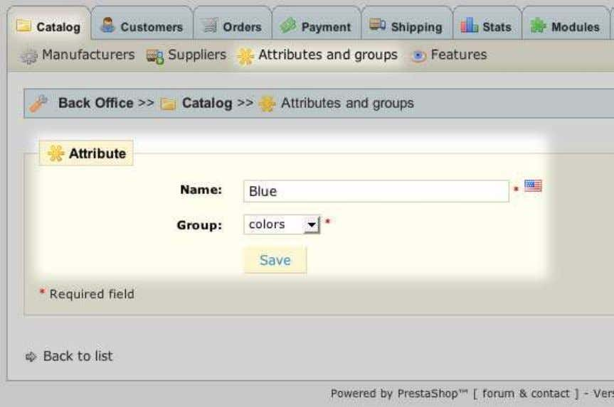 Next, we can add attributes to a group we've created: 1. In the Back Office >