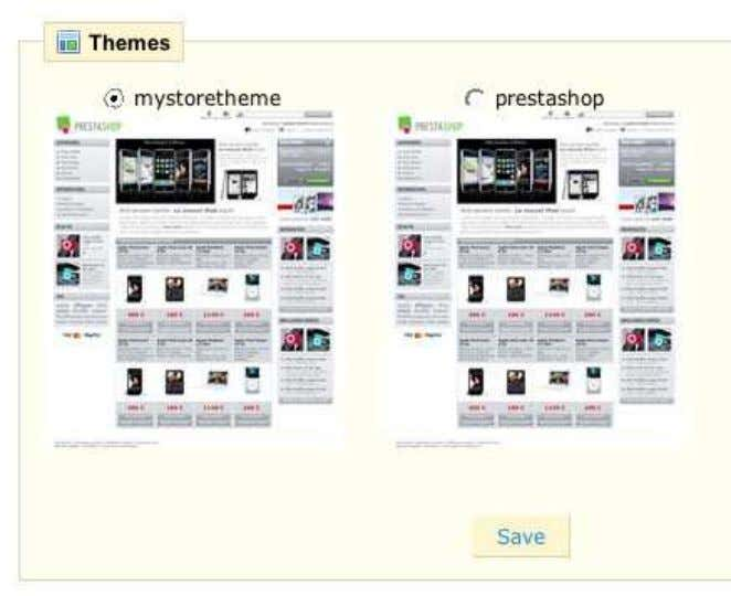 Themes section 2. Select the new theme and click Save . Share your themes! Show off