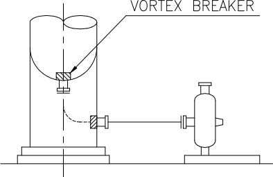 in. 4) Suction piping on tower or vessel : Vortex breaker is installed on tower or