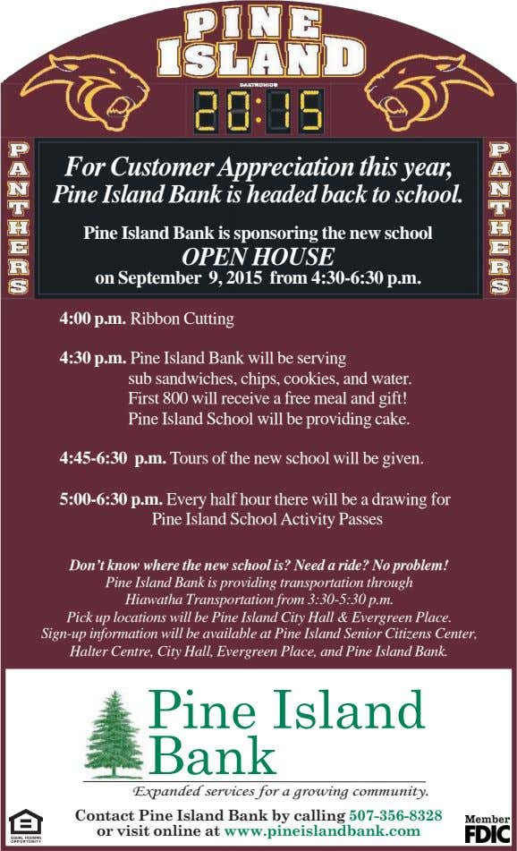 For Customer Appreciation this year, Pine Island Bank is headed back to school. Pine Island