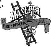 August 22 Mazeppa Fire Hall, 121 Maple Street, Mazeppa times are Event M F D '