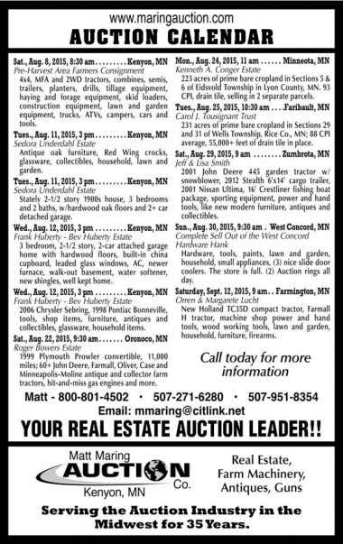 ZUMBRO SHOPPER, WEDNESDAY, AUGUST 5, 2015 • PAGE 5 FARMITEMSFORRENT FOR RENT: Grain vac for rent.