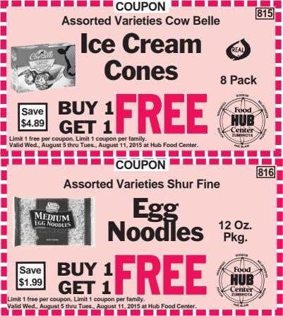 COUPON Assorted Varieties Cow Belle 815 Ice Cream Cones 8 Pack BUY 1 Save FREE