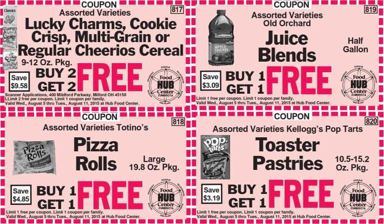 COUPON Assorted Varieties 817 819 Lucky Charms, Cookie Crisp, Multi-Grain or Regular Cheerios Cereal COUPON