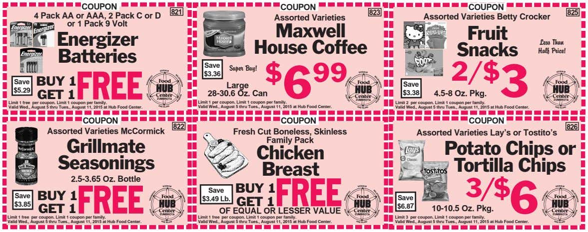 COUPON 4 Pack AA or AAA, 2 Pack C or D or 1 Pack 9