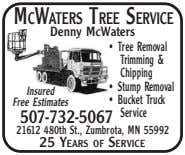 MCWATERS TREE SERVICE Denny McWaters • Tree Removal Trimming & Chipping • Stump Removal Insured