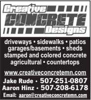 driveways • sidewalks • patios garages/basements • sheds stamped and colored concrete agricultural •