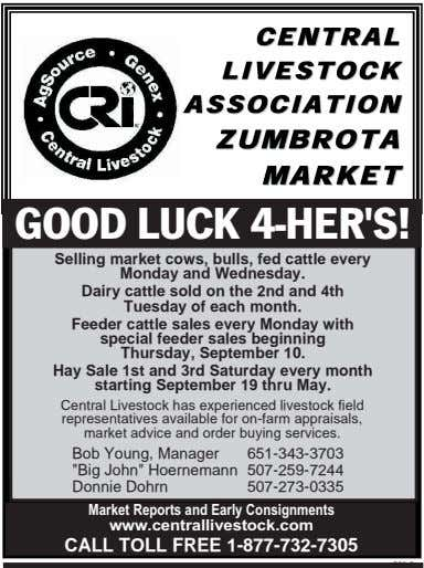 GOOD LUCK 4-HER'S! Selling market cows, bulls, fed cattle every Monday and Wednesday. Dairy cattle