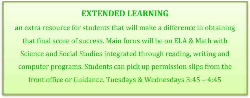 EXTENDED LEARNING an extra resource for students that will make a difference in obtaining that