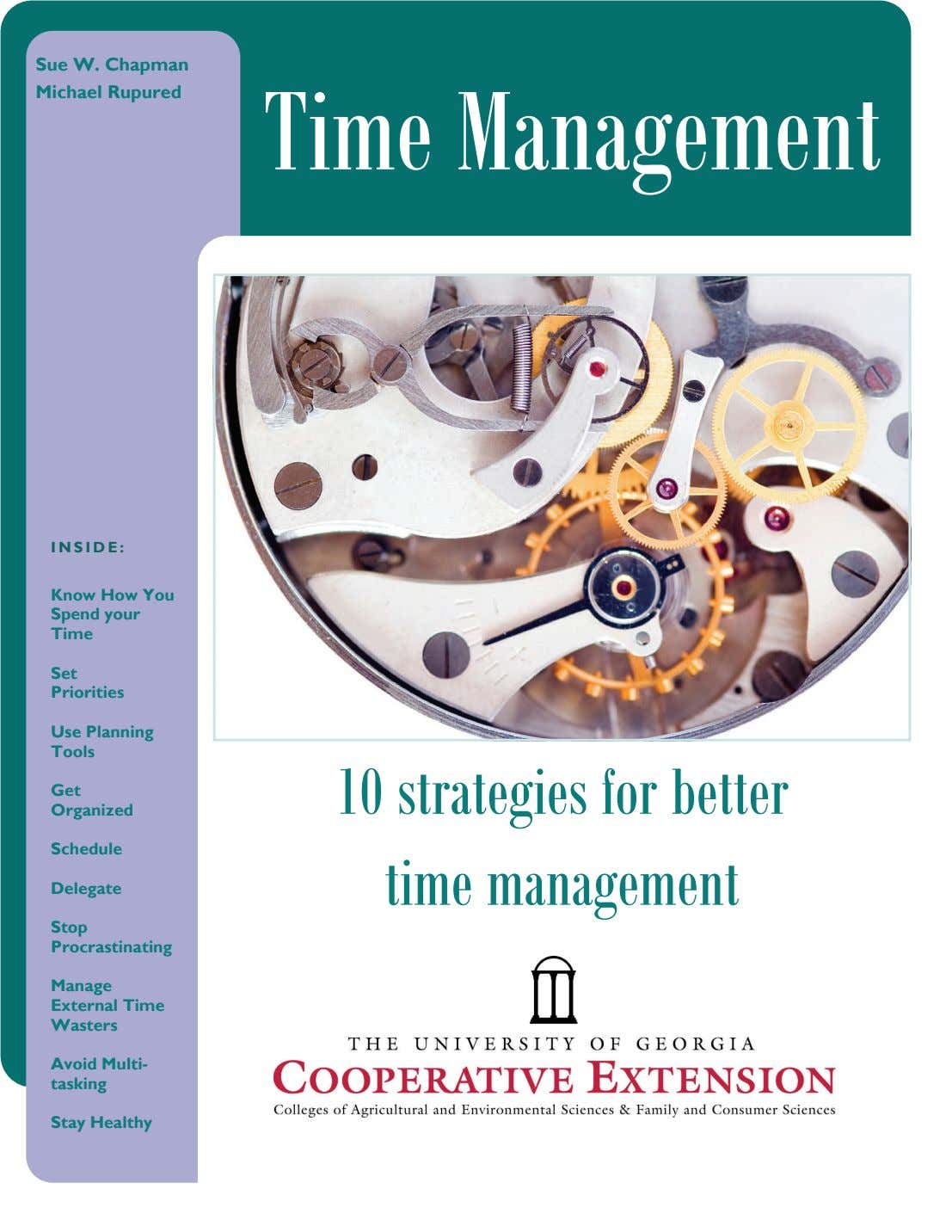 Sue W. Chapman Michael Rupured Time Management INSIDE: Know How You Spend your Time Caption describing