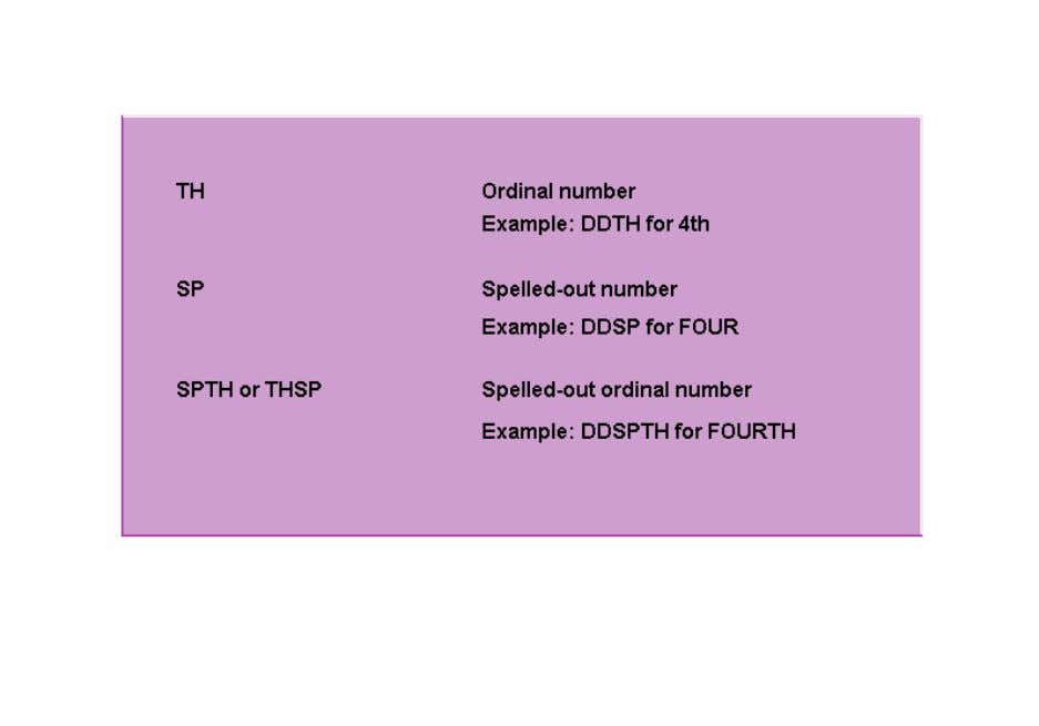 using the SP suffix. You can use these suffixes in combination to produce spelled-out ordinal numbers,