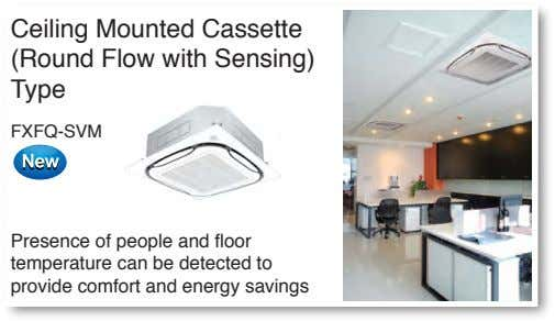 Ceiling Mounted Cassette (Round Flow with Sensing) Type FXFQ-SVM Presence of people and floor temperature