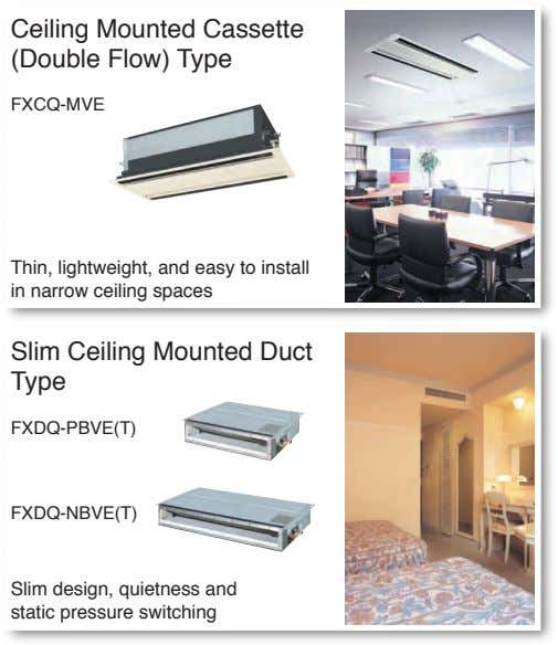 Ceiling Mounted Cassette (Double Flow) Type FXCQ-MVE Thin, lightweight, and easy to install in narrow