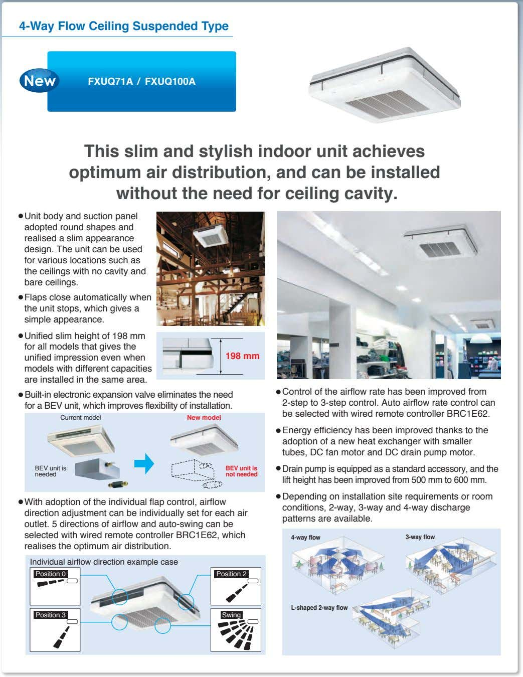 4-Way Flow Ceiling Suspended Type FXUQ71A / FXUQ100A This slim and stylish indoor unit achieves