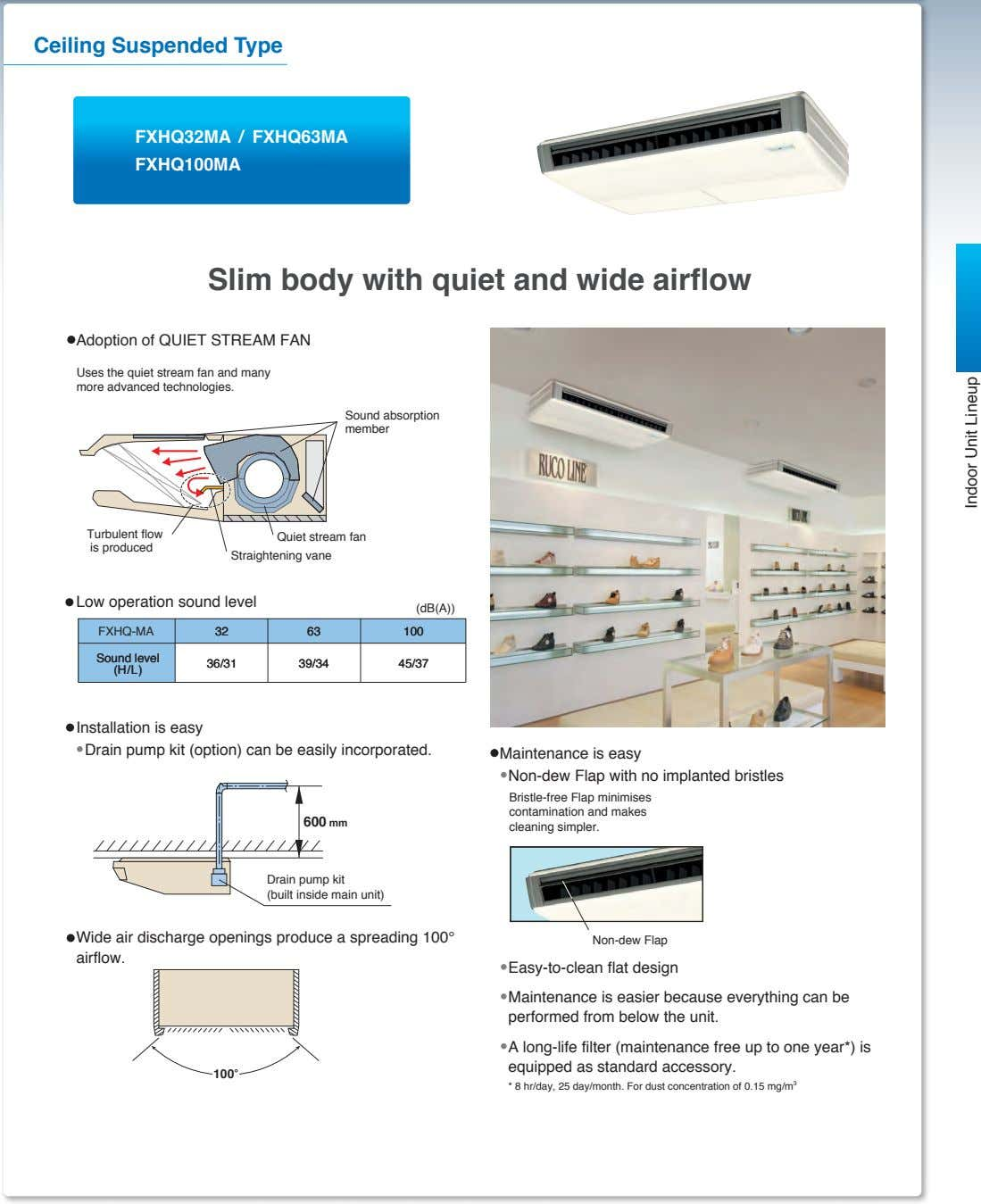 Ceiling Suspended Type FXHQ32MA / FXHQ63MA FXHQ100MA Slim body with quiet and wide airflow Adoption