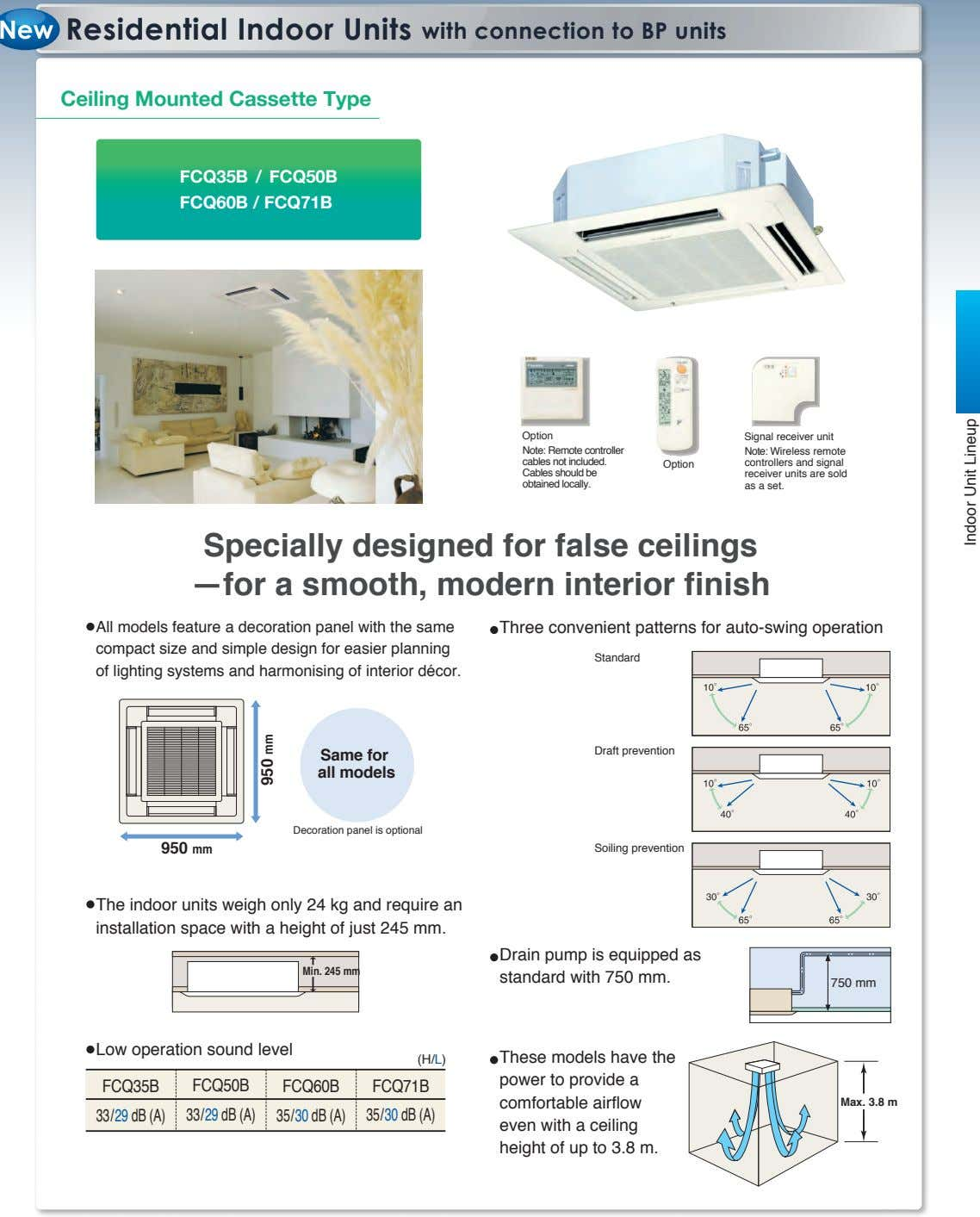 Residential Indoor Units with connection to BP units Ceiling Mounted Cassette Type FCQ35B / FCQ50B