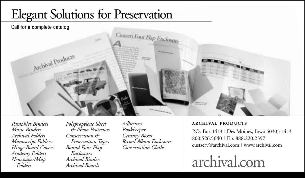 Elegant Solutions for Preservation Call for a complete catalog Pamphlet Binders Music Binders Archival Folders