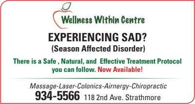 EXPERIENCING SAD? (Season Affected Disorder) There is a Safe , Natural, and Effective Treatment Protocol