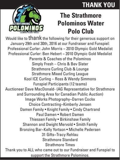 THANK YOU The Strathmore Polominos Water Polo Club Would like to thank the following for
