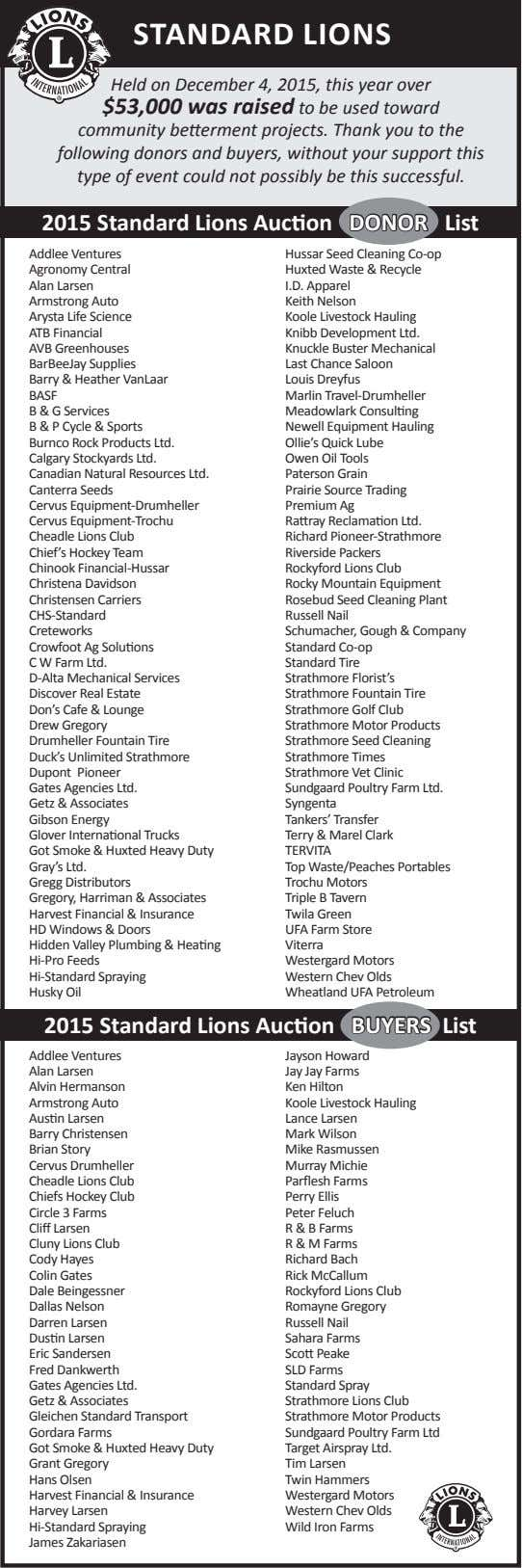 STANDARD LIONS Held on December 4, 2015, this year over $53,000 was raised to be